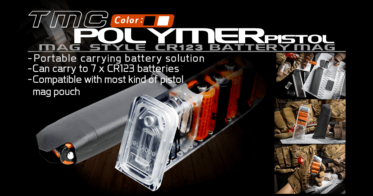 TMC Polymer Pistol Mag Style CR123 Battery Mag